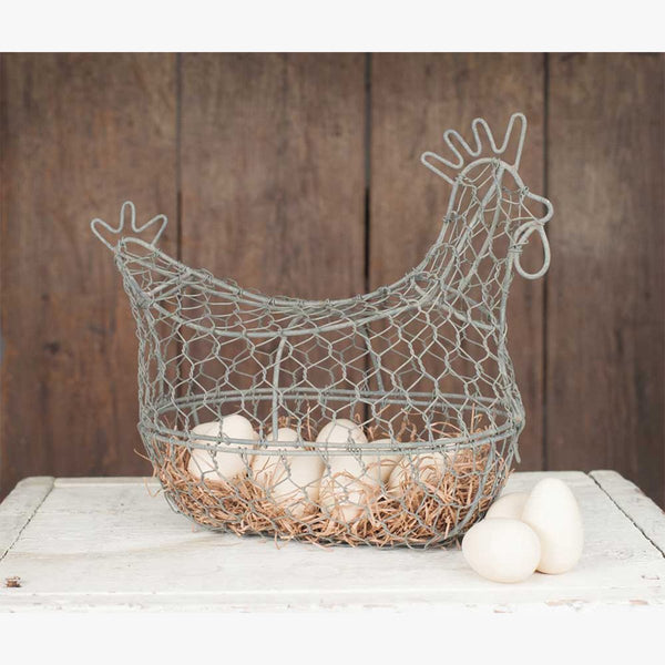 RUSTIC CHICKEN WIRE EGG BASKET