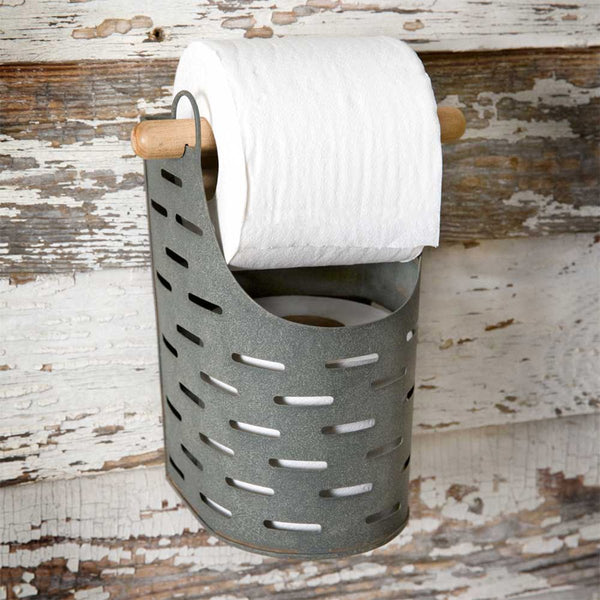 RUSTIC OLIVE BUCKET TOILET PAPER HOLDER