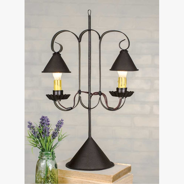 VINTAGE DOUBLE LAMP WITH HANGING SHADES - RUSTIC BROWN