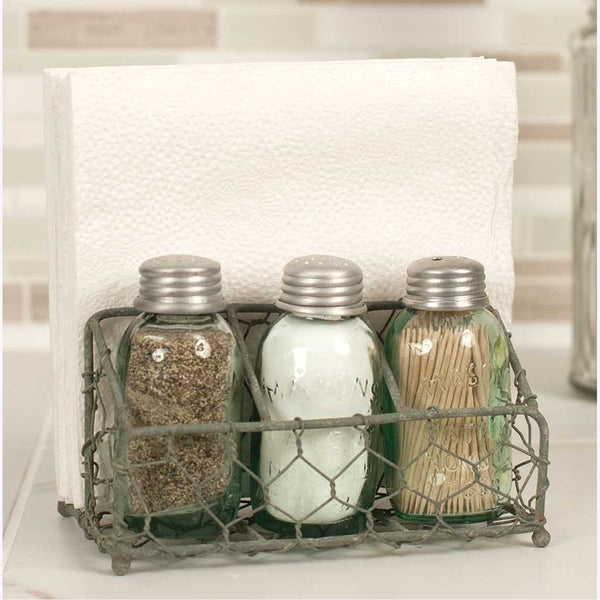 CHICKEN WIRE SALT AND PEPPER NAPKIN CADDY
