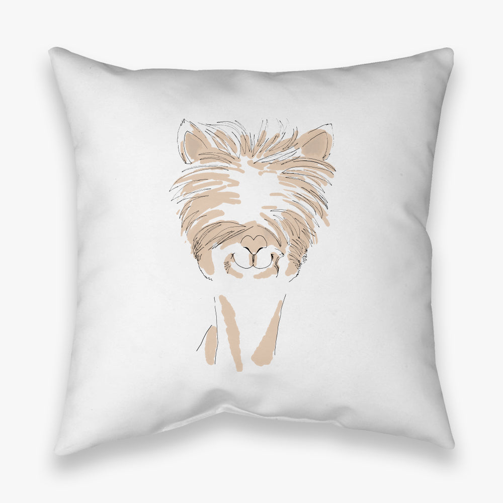 WATERCOLOR FARM ALPACA DECORATIVE THROW PILLOW
