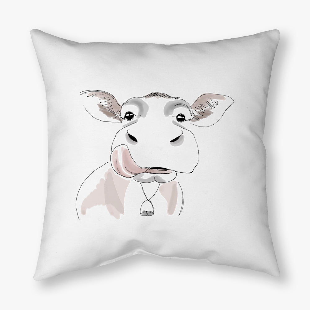 WATERCOLOR FARM COW DECORATIVE THROW PILLOW
