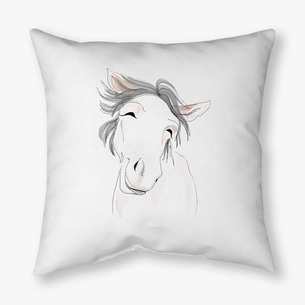 WATERCOLOR FARM HORSE DECORATIVE THROW PILLOW