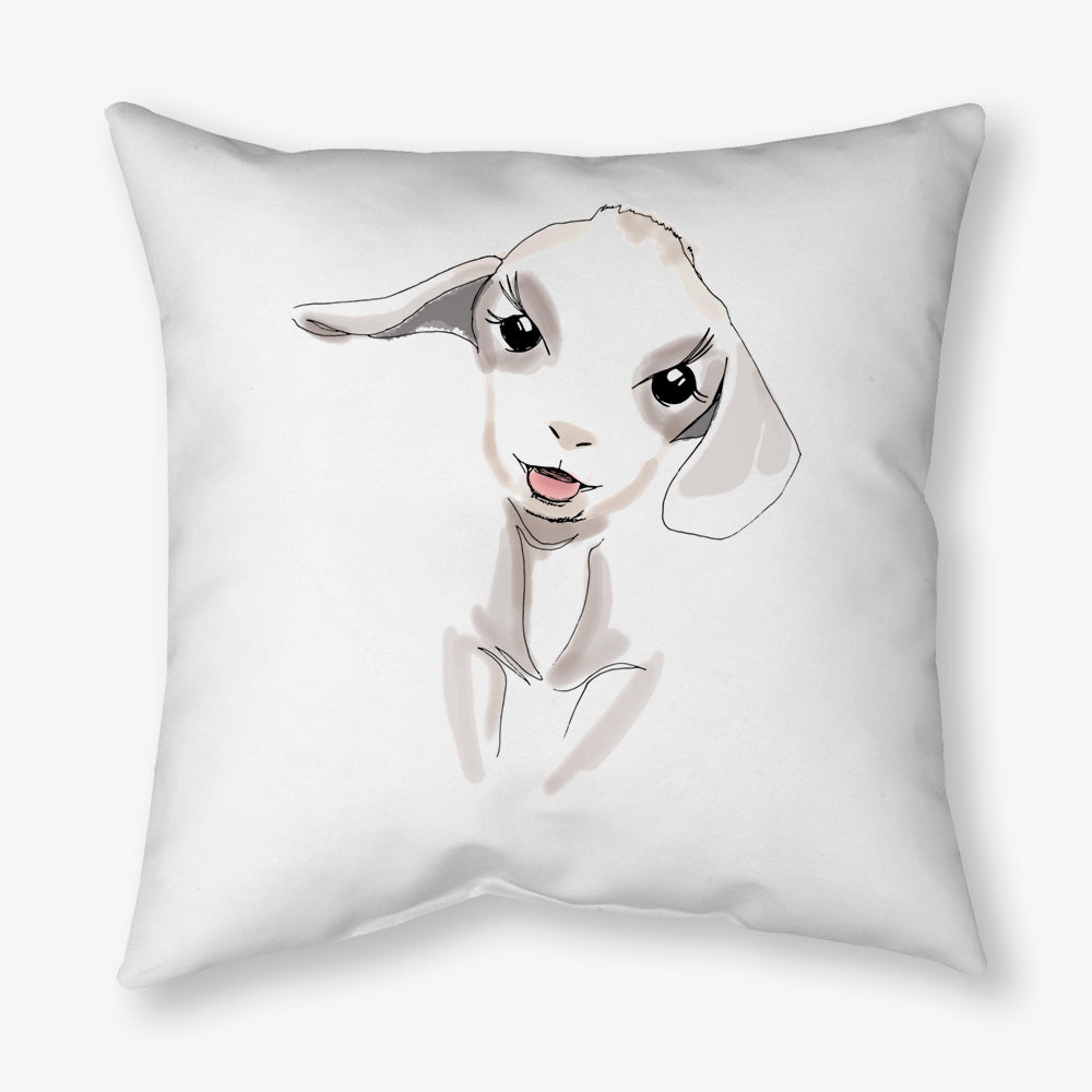 WATERCOLOR FARM LAMB DECORATIVE THROW PILLOW