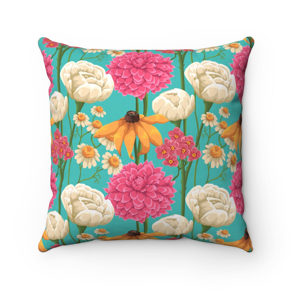 VINTAGE SUMMER FLORAL AND ROSES DECORATIVE THROW PILLOW