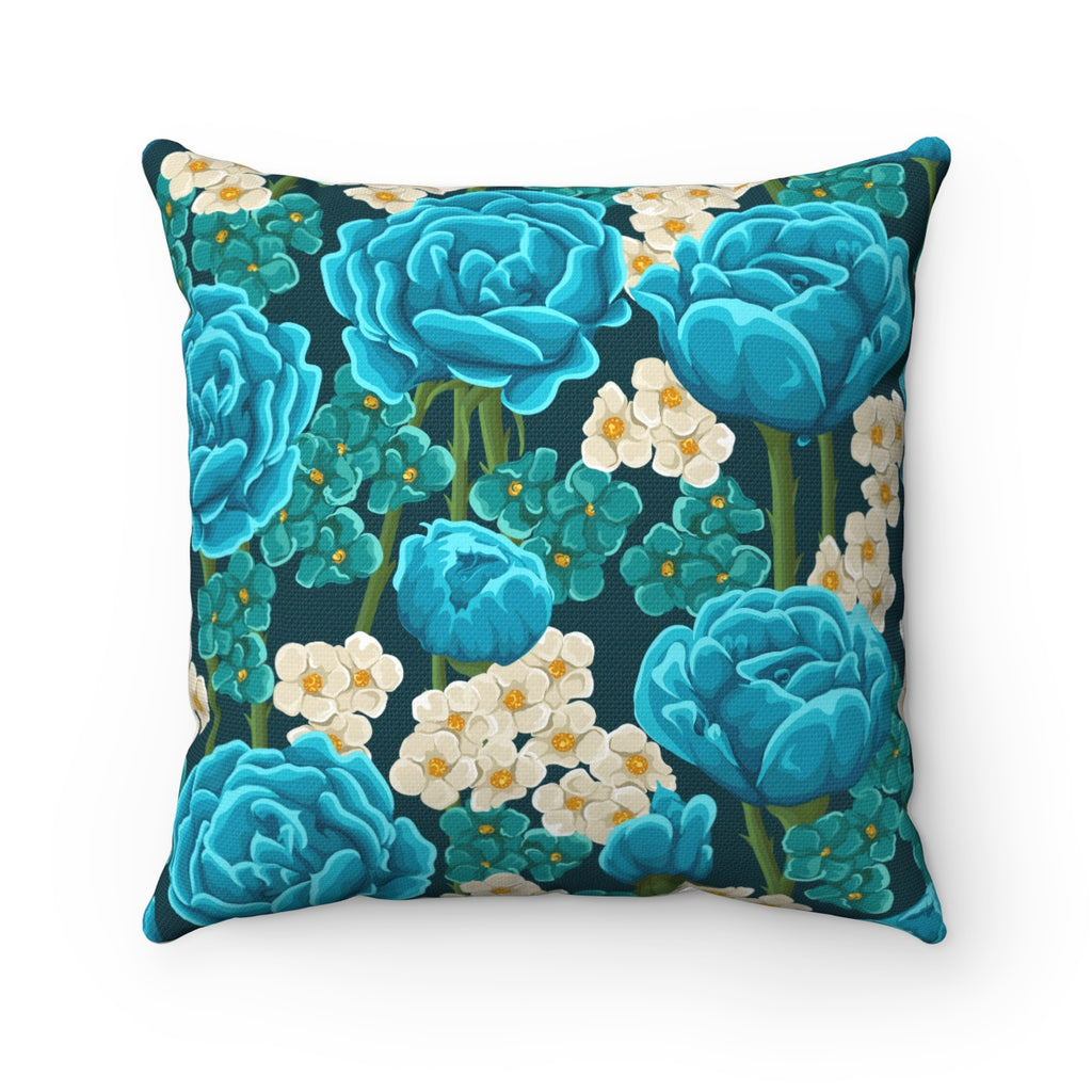BLUE VINTAGE ROSES DECORATIVE THROW PILLOW