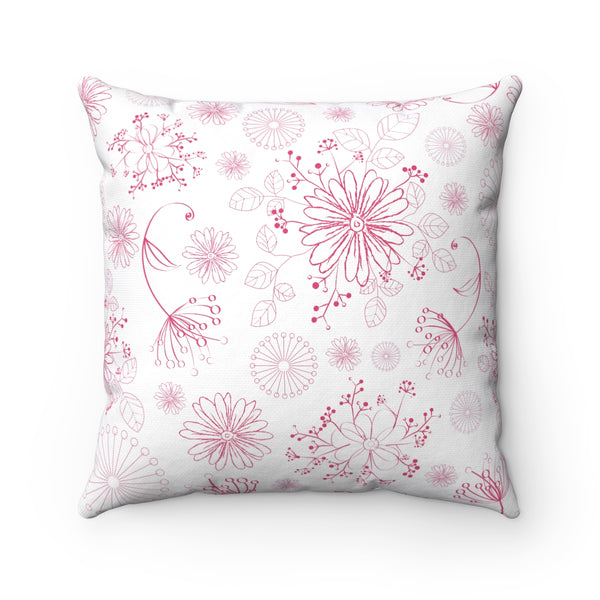 PINK FLORAL DECORATIVE THROW PILLOW