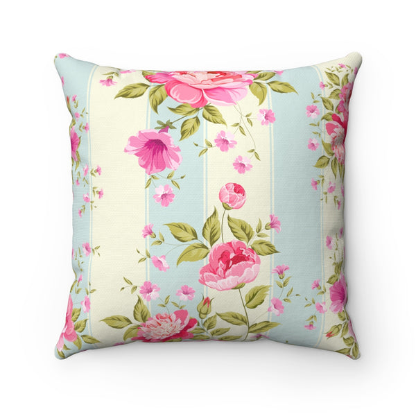VINTAGE PINK FLORAL DECORATIVE THROW PILLOW