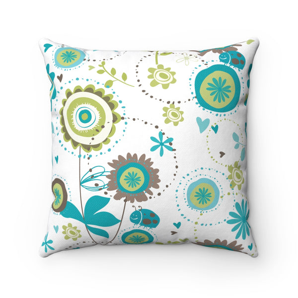 RUSTIC BLUE FLORAL DECORATIVE THROW PILLOW