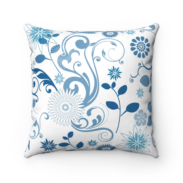 MODERN BLUE FLORAL DECORATIVE THROW PILLOW