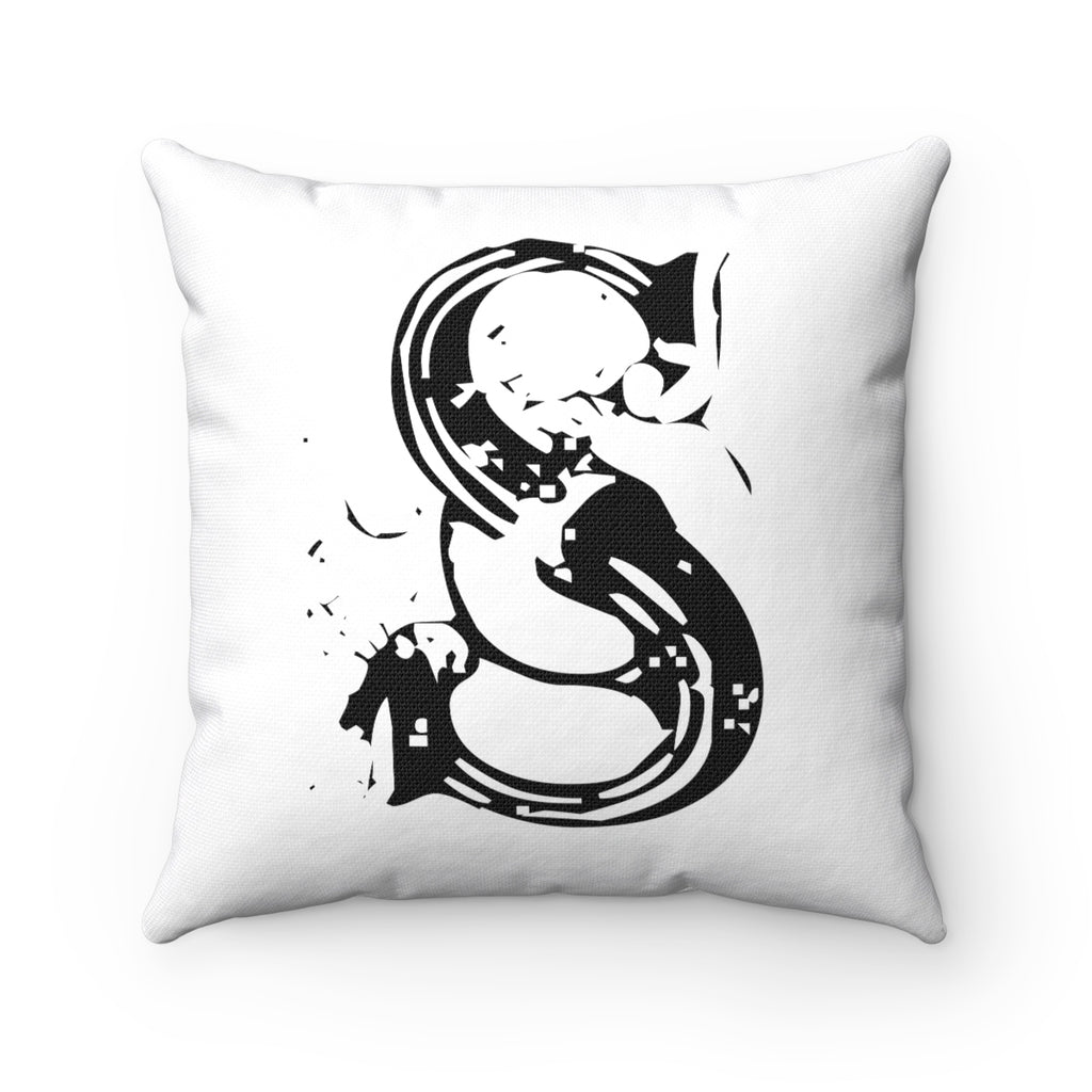 FRENCH CHIC LETTER, NUMBER, SYMBOL BLACK ON WHITE DECORATIVE THROW PILLOW