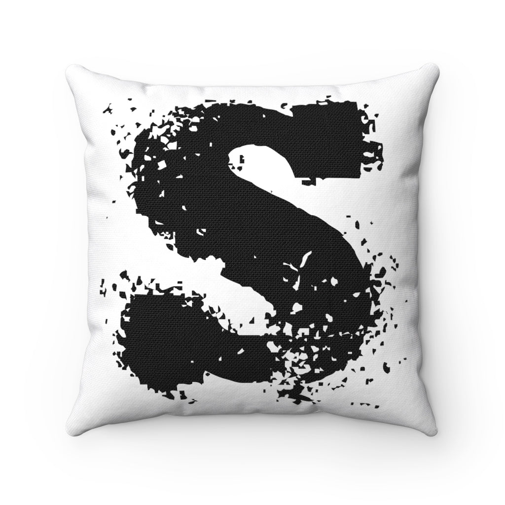FUZZY LETTER, NUMBER, SYMBOL BLACK ON WHITE DECORATIVE THROW PILLOW