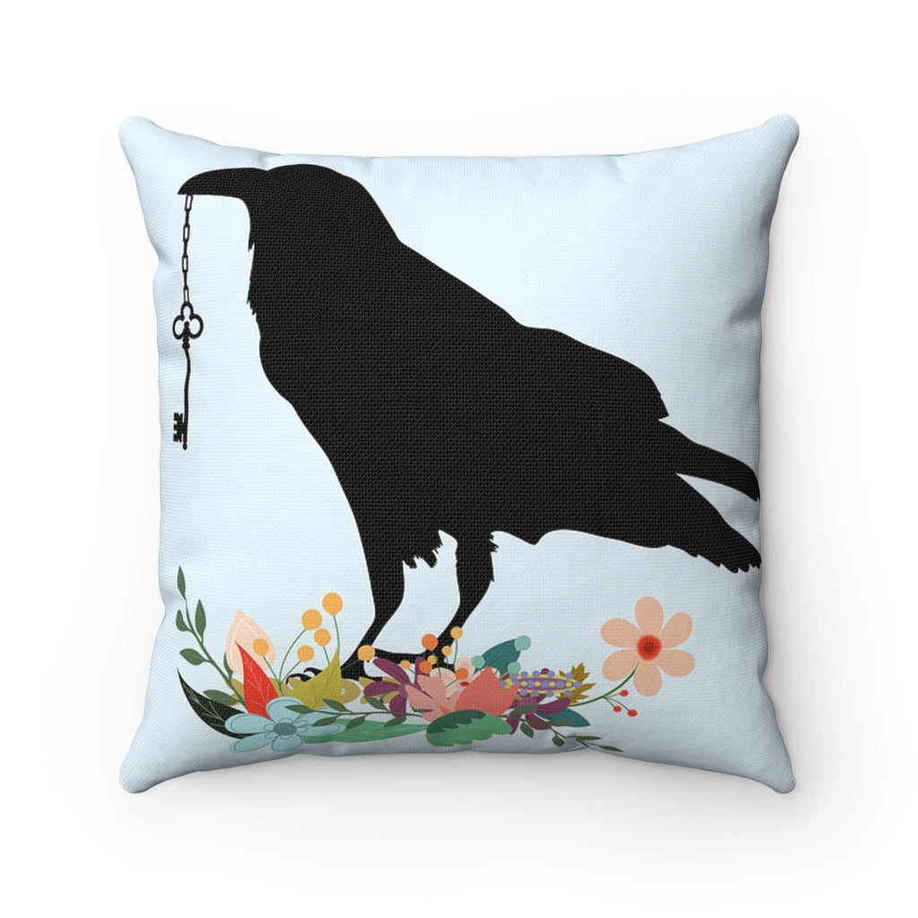 RAVEN WITH KEY DECORATIVE THROW PILLOW
