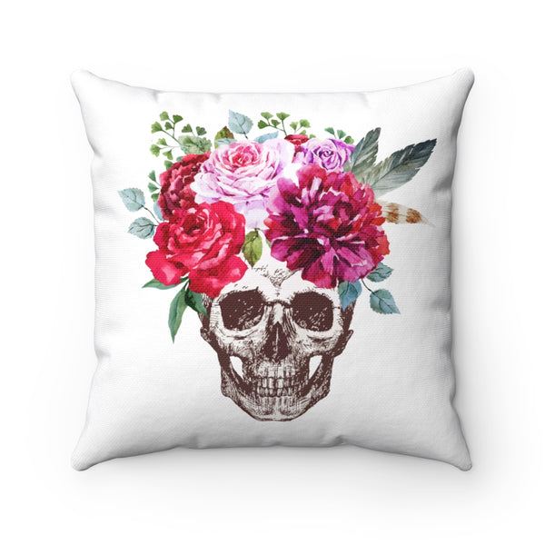 BOHO SKULL WITH ROSES DECORATIVE THROW PILLOW
