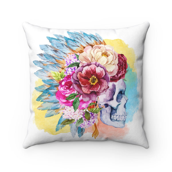 BOHO SKULL WITH HEADDRESS DECORATIVE THROW PILLOW