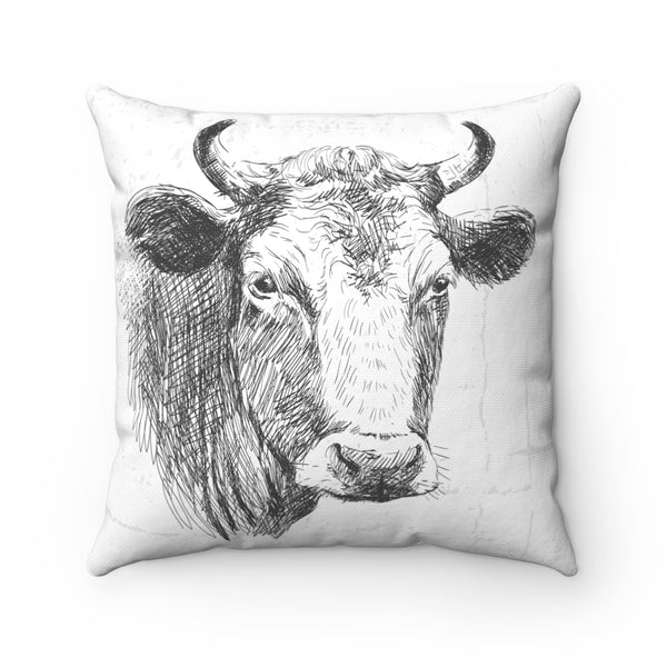 FARM SKETCH OF COW DECORATIVE PILLOW