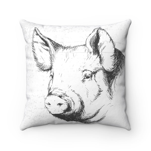 FARM SKETCH OF PIG DECORATIVE PILLOW
