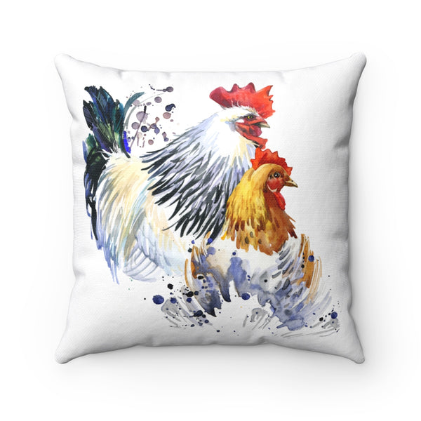 WATERCOLOR FARM CHICKENS DECORATIVE THROW PILLOWS