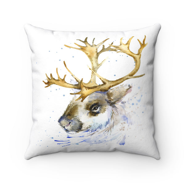 WATERCOLOR REINDEER DECORATIVE THROW PILLOW
