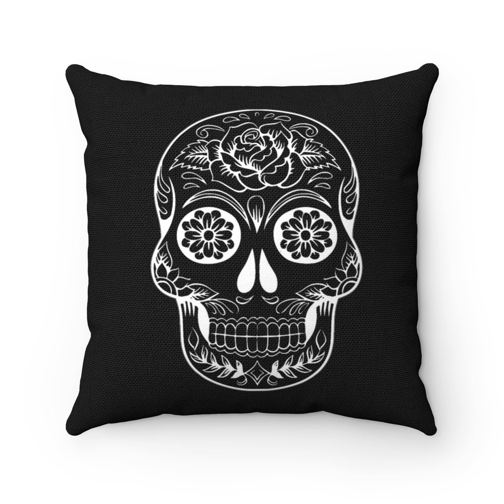 BLACK SUGARSKULL DECORATIVE THROW PILLOW