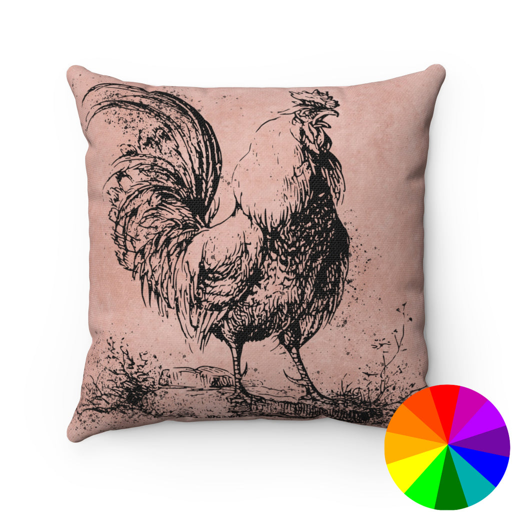 VINTAGE FARM ROOSTER PRINT DECORATIVE THROW PILLOW