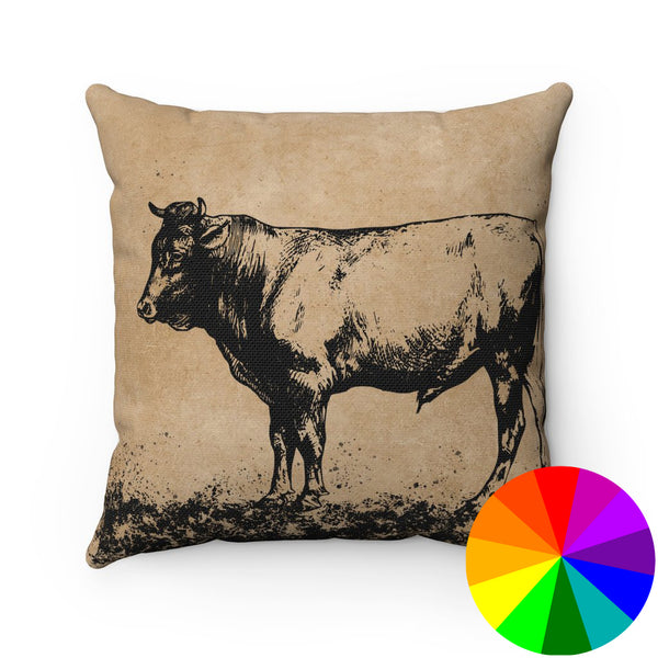 VINTAGE FARM COW PRINT DECORATIVE THROW PILLOW