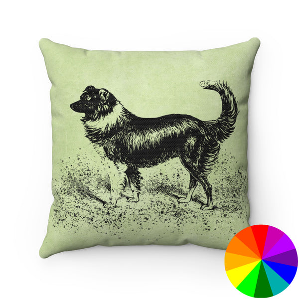 VINTAGE FARM DOG PRINT DECORATIVE THROW PILLOW