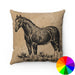 VINTAGE FARM HORSE PRINT DECORATIVE THROW PILLOW