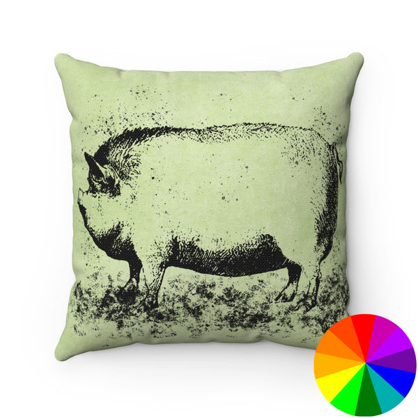 VINTAGE FARM PIG PRINT DECORATIVE THROW PILLOW