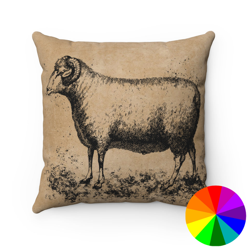 VINTAGE FARM SHEEP PRINT DECORATIVE THROW PILLOW