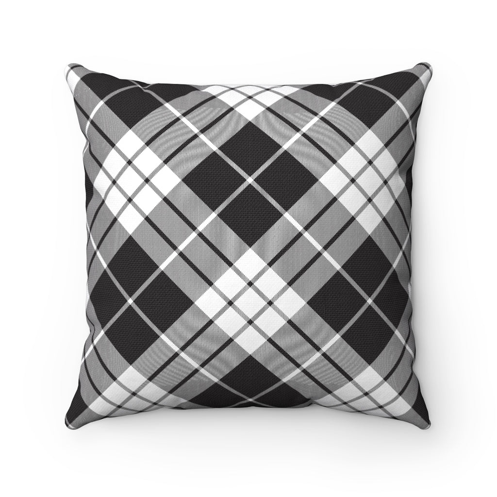 WHITE PLAID DECORATIVE THROW PILLOW