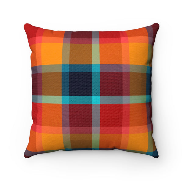 ORANGE AND RED PLAID DECORATIVE THROW PILLOW