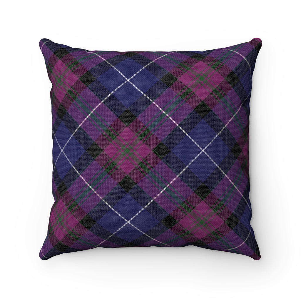 PURPLE PLAID DECORATIVE THROW PILLOW