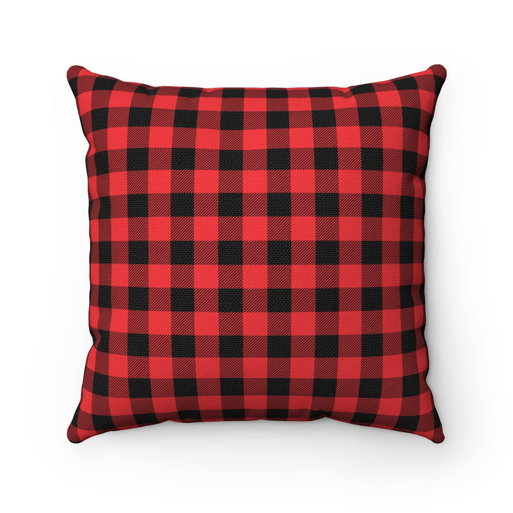 RED PLAID DECORATIVE THROW PILLOW