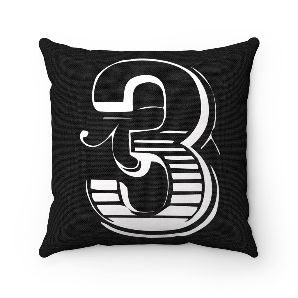 SHOWTIME LETTER, NUMBER, SYMBOL WHITE ON BLACK DECORATIVE THROW PILLOW