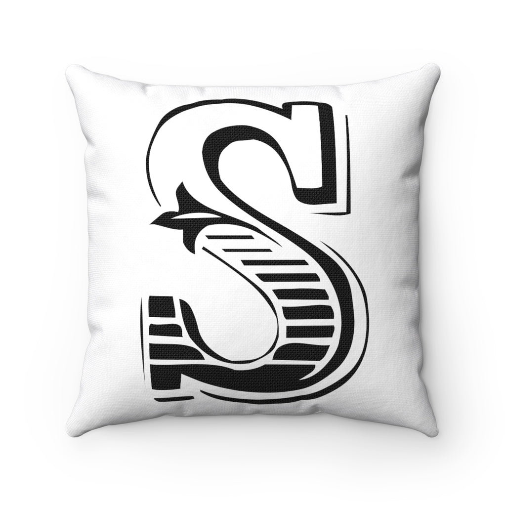 SHOWTIME LETTER, NUMBER, SYMBOL BLACK ON WHITE DECORATIVE THROW PILLOW