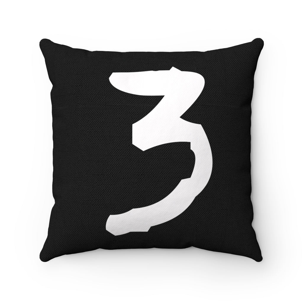TYPE LETTER, NUMBER, SYMBOL WHITE ON BLACK DECORATIVE THROW PILLOW