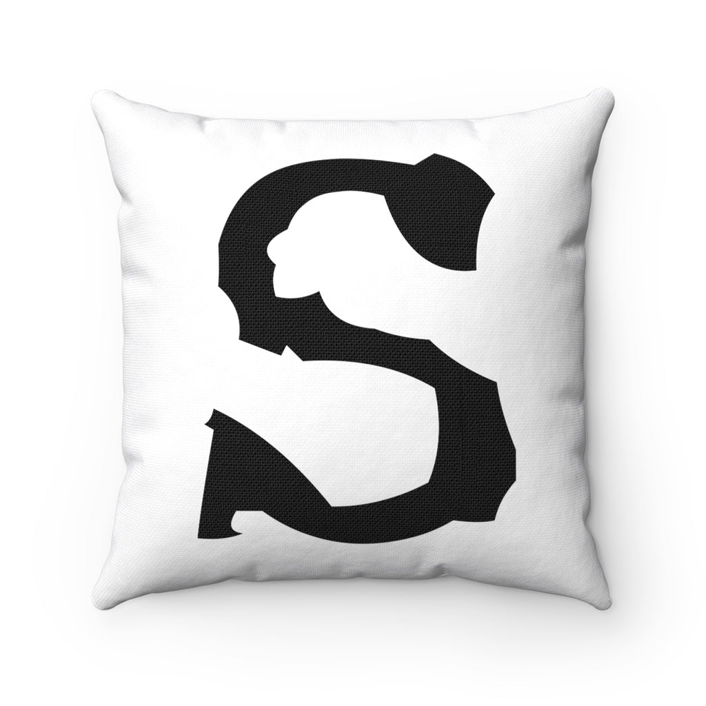 TYPE LETTER, NUMBER, SYMBOL BLACK ON WHITE DECORATIVE THROW PILLOW