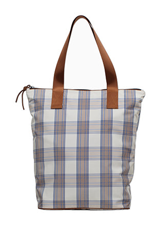 baum und pferdgarten kora checked totebag creamnavy brown checks taska