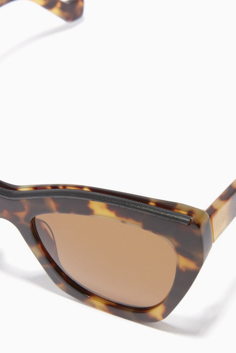 Cateye Sunglasses With Leather Insert