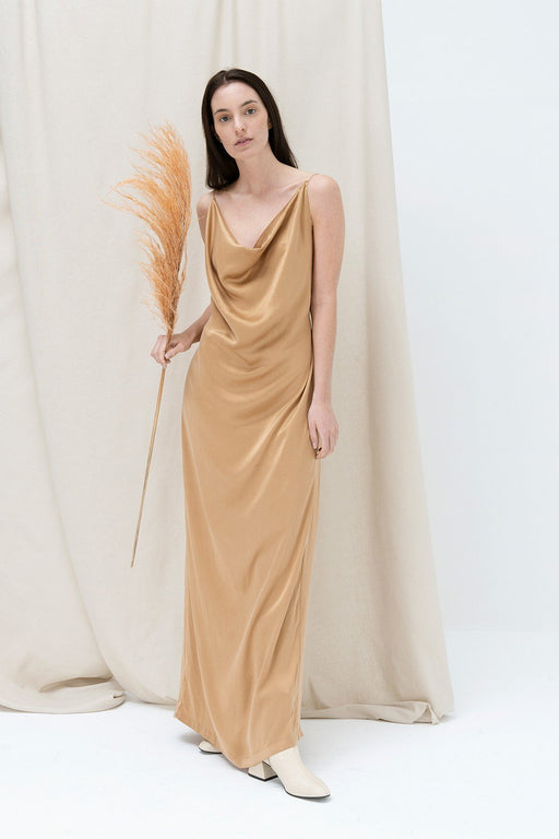 alma vetlnyi golden reed evening dress camel ruha