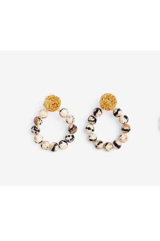 Gold Sparkling Stars Howlite Beads Hoops