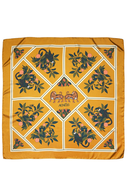 Exotic Dream Print Silk Scarf - 90X90