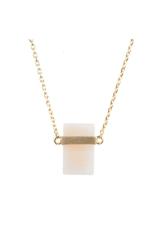 all the luck in the world pastel rose quartz rectangle necklace galaxy collection gold nyaklanc