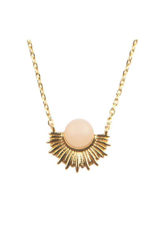 all the luck in the world pastel rose quartz sun necklace gold nyaklanc