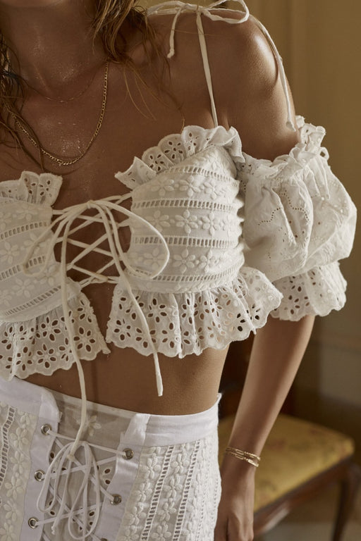 Anabelle White Crop Top
