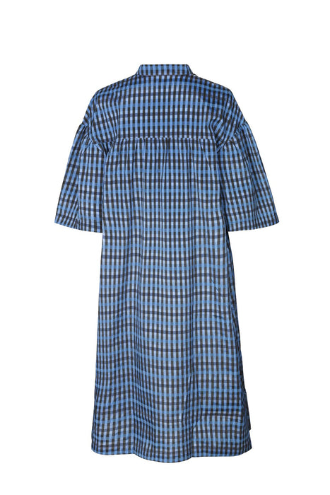 baum und pferdgarten aslau loose fit midi dress blue gingham ruha