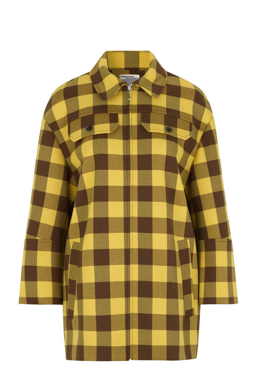 baum und pferdgarten bethany checkedcady coat brown golden check kabat