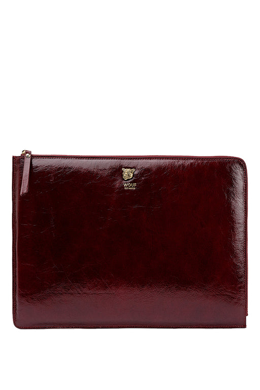 "Burgundy Tiger 13"" Leather Laptop Case"