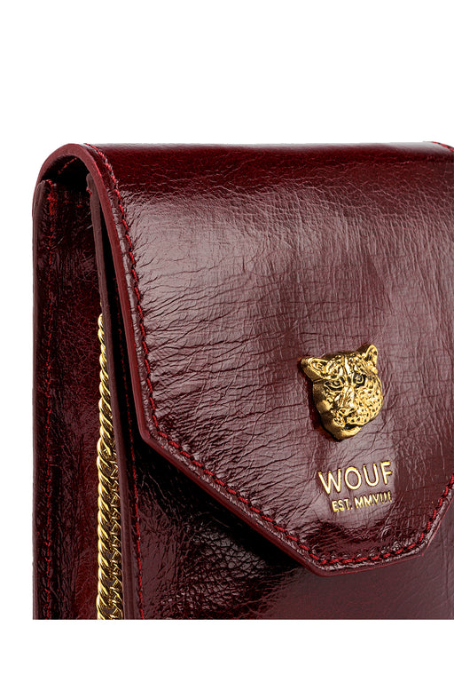 Burgundy Tiger Leather Flap Mini Bag